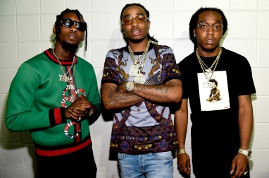 ATLANTA, GA - JUNE 29: (Exclusive Coverage)Offset, Quavo, and Takeoff of Migos pose backstage during the kick off the 2016 Honda Civic Tour: Future Now at Philips Arena on June 29, 2016 in Atlanta, Georgia. (Photo by Kevin Mazur/Getty Images for Philymack)